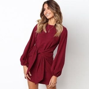 Wine Red Tie Front Balloon Long Sleeve Dress